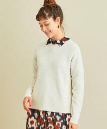 BY∴ 羊毛畦編側鈕扣圓領罩衫