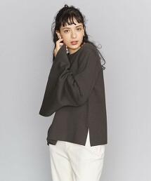 BY 雙層紗 開衩 喇叭袖針織罩衫