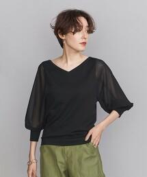 BY 雪紡紗 結合 6分袖針織衫 -2WAY/手洗- 日本製