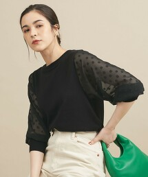【WEB限定】by 圓點 雪紡紗 緹花織 6分袖針織衫 -可手洗- ∴ 日本製