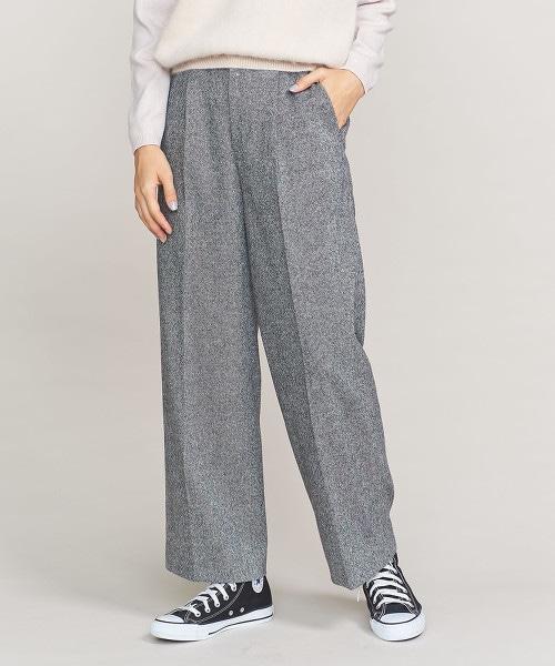 BY 斜紋軟呢打褶寬褲