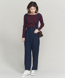 BY 吊帶打褶錐形褲/深藍/淡紫色