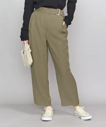 BY 雙層織物 打摺 附腰帶 長褲о