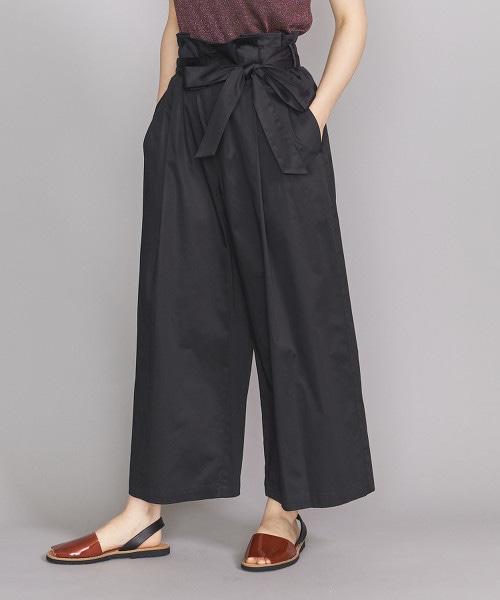 BY 棉緞綁帶寬版9分褲