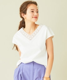 BY∴ 蕾絲刺繡V領T恤