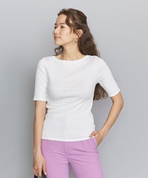 BY 隨機羅紋船型領5分袖T恤