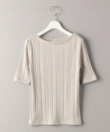 BY 不規則羅紋針織 船型領 5分袖T恤