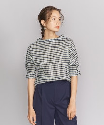 BY 細格紋5分袖罩衫
