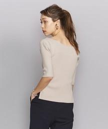 BY 羅紋 船型領 5分袖針織套頭衫