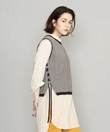 BY 直條紋 剪織緹花布 綁帶無袖針織 -可手洗-