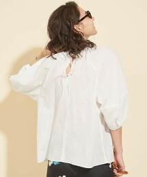 BY∴ 透膚棉 抓皺 蓬鬆6分袖罩衫 -可水洗-