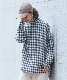 BY∴ 格紋立領罩衫