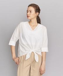 BY 棉質絲綢正面打結土耳其袖罩衫