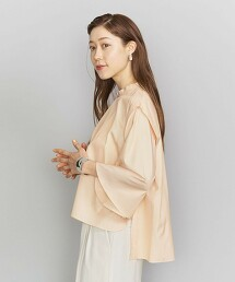 BY 高領 荷葉袖罩衫 日本製