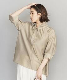 BY 透膚摺邊6分袖罩衫 日本製