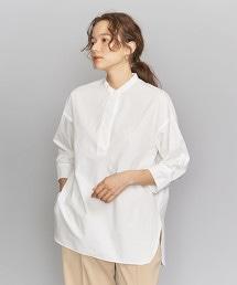 BY 高密度織立領開襟領7分袖襯衫