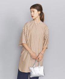 BY 高密度織 立領 開襟領 5分袖 襯衫