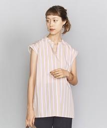 BY 府綢複合直條紋開襟領罩衫