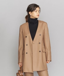 BY 薩克森呢 雙排釦無領外套 OUTLET商品