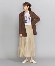 BY 仿麂皮緞面百褶長裙