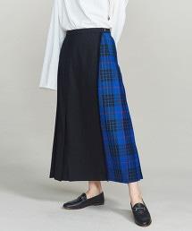BY LOCHCARRON 羊毛格紋褶裙