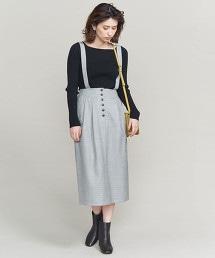 BY 前鈕扣吊帶裙/灰色