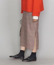 BY 格紋側開衩窄裙