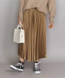 BY 素色緞面百褶長裙
