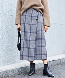 BY∴ 格紋鈕釦一片裙