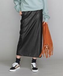 BY 仿皮革 窄裙/黑色 日本製
