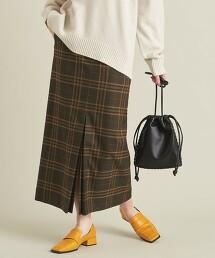 BY 格紋開衩A字裙 ∴ 日本製