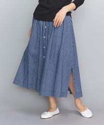 <GYMPHLEX>馬德拉斯格紋荷葉裙