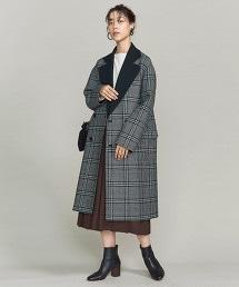 BY 羊毛格紋雙面穿大衣