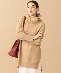 BY∴ 羊毛開衩長版高領針織上衣
