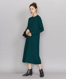 BY 混羊毛羅紋圓領前釦洋裝