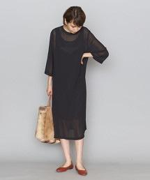 BY 雪紡紗兩件式8分袖洋裝