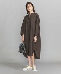 BY 純棉 高密度織 寬版 立領襯衫式洋裝