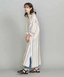 BY 純棉 複合直條紋 長版襯衫式洋裝