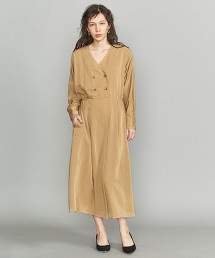 BY 雙縐素材正面鈕釦V領洋裝