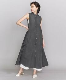 BY 透明感 格紋 立領 無袖洋裝