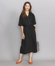 BY 斜紋織 開襟領 腰帶 5分袖洋裝