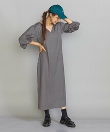 BY 純棉 天竺材質 側開衩 長袖 洋裝 -2WAY/手洗- 日本製