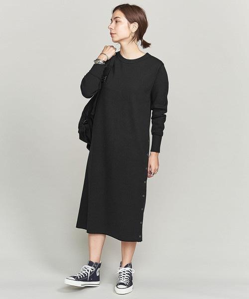 BY 棉發熱素材壓釦開衩洋裝