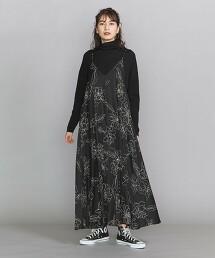 BY 無彩色花朵印花細肩帶洋裝 日本製