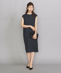 BY DRESS 緞面 背拉鍊 法國袖洋裝 日本製