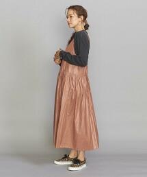 BY 仿皮革 抽褶 細肩帶洋裝 -手洗- 日本製