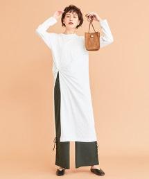 BY∴ 純棉 扭結 開岔 長袖洋裝