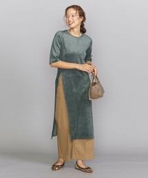 BY 天鵝絨開衩5分袖洋裝 -可手洗- 日本製