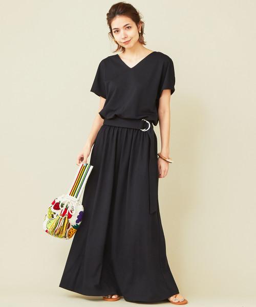 【WEB限定】by ※附腰帶T恤V領洋裝