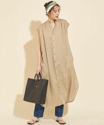【WEB限定】by ※∴法國亞麻 抽褶 襯衫式迷嬉洋裝 -可水洗-